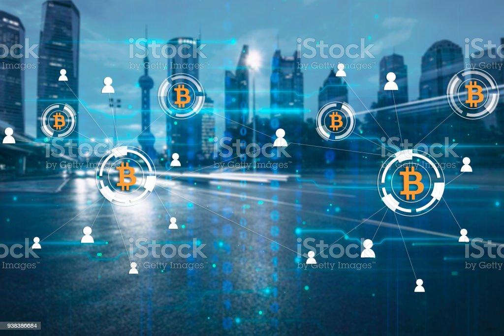 Bitcoin Krypto Währung Zahlung System Netzwerk moderne Stadt Zukunftstechnologie – Foto