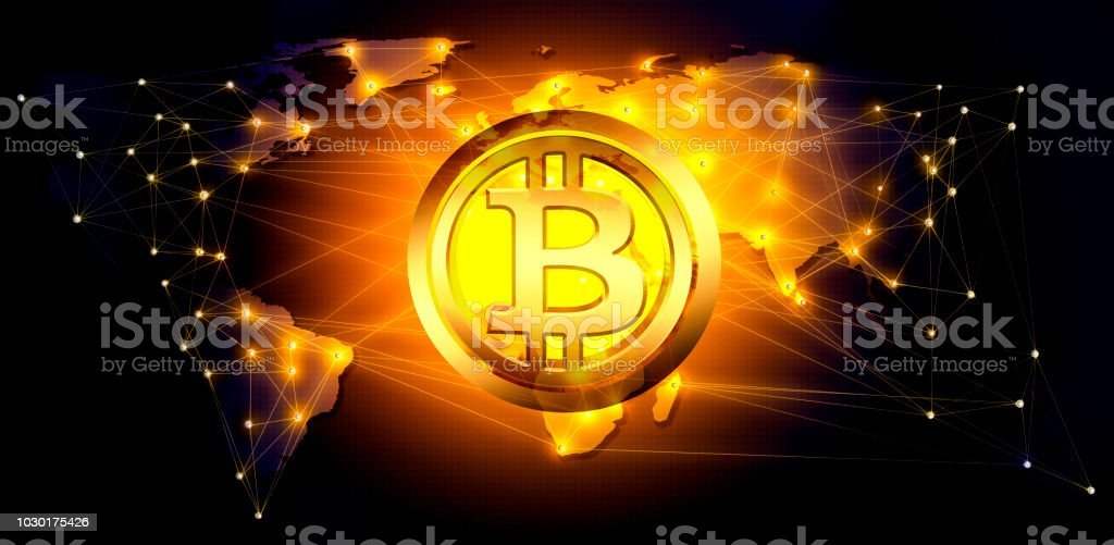 Bitcoin cryptocurrency blockchain technology abstract background .3D ilustration. stock photo
