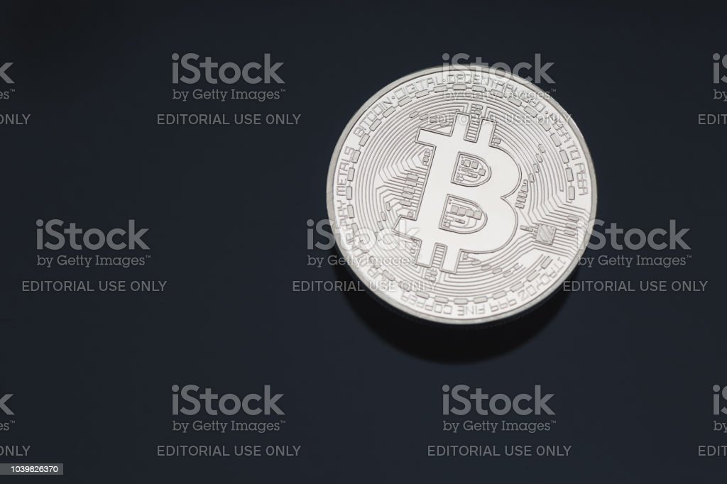 Bitcoin Cryptocurrency Coin Token Close Up Cleaned Silver Macro With