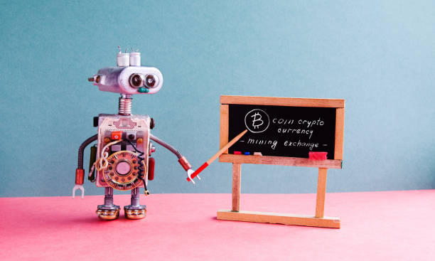 Bitcoin cryptocurrency digital money concept. Robot professor explains electronic mining cash financial system. Classroom interior with handwritten quote chalkboard. Green pink colorful background stock photo