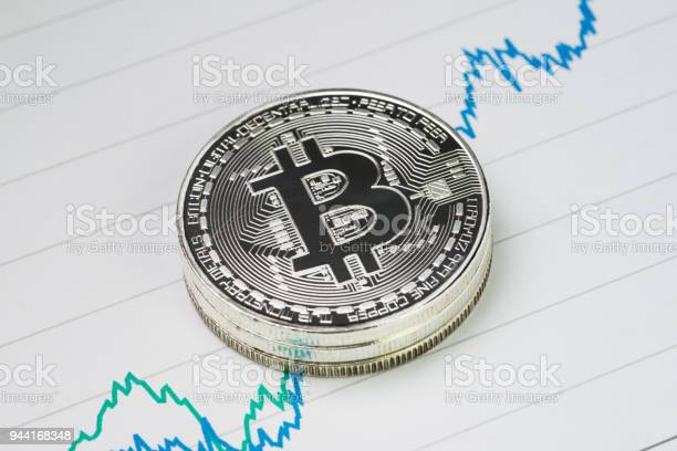 Bitcoin Cryptocurrency Digital Money Price Rise Concept Stack Of Physical Coins With B Sign Alphabet On Rising Price Graph On Paper Stock Photo - Download Image Now
