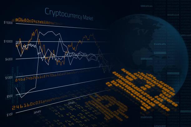 bitcoin cryptocurrency pazar yüksek teknoloji bilgisayar arka plan - kripto para birimi stok fotoğraflar ve resimler