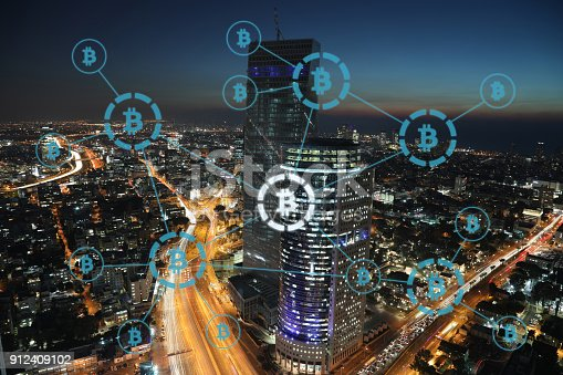 istock Bitcoin cryptocurrency payment system network modern city future technology 912409102