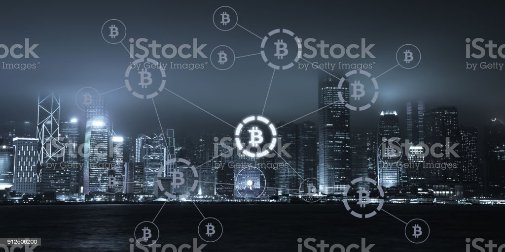 Bitcoin cryptocurrency payment system network modern city future technology stock photo
