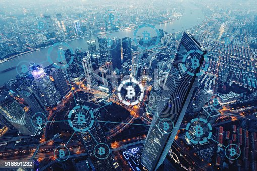 istock Bitcoin cryptocurrency payment system network modern city future technology 918851232