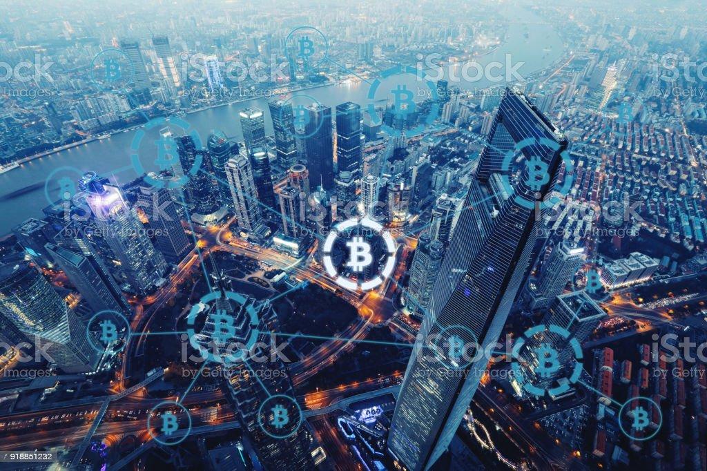 Bitcoin Kryptowährung Zahlung System Netzwerk moderne Stadt Zukunftstechnologie – Foto