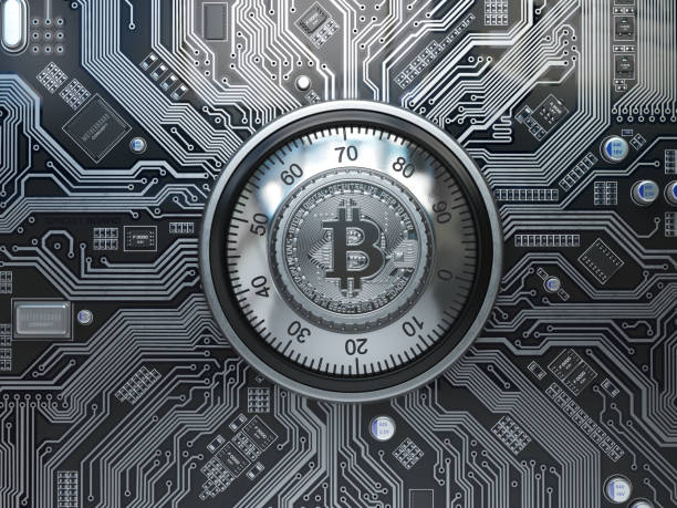 Bitcoin cryptocurrency security  and mining concept. Safe lock with symbol of bitcoin on circuit board. – zdjęcie