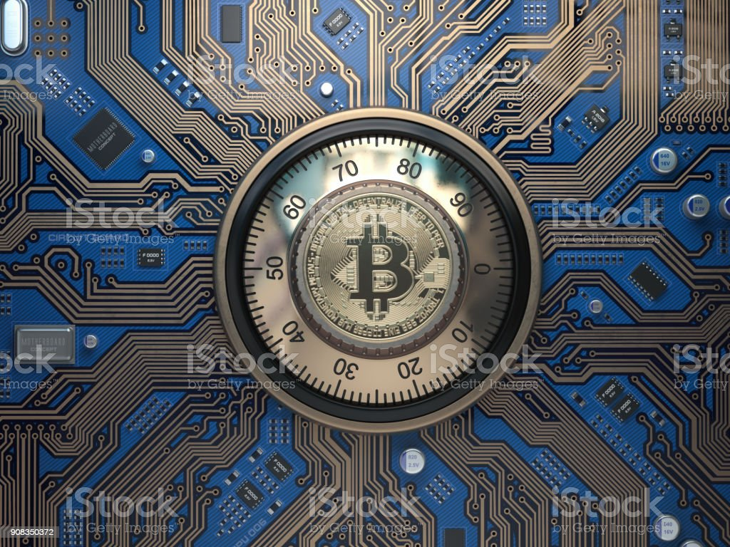 Bitcoin cryptocurrency security  and mining concept. Safe lock with symbol of bitcoin on circuit board. stock photo