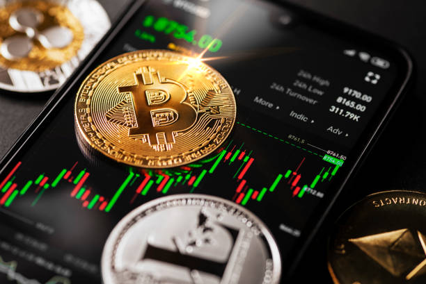 Bitcoin cryptocurrency trading on smartphone stock photo
