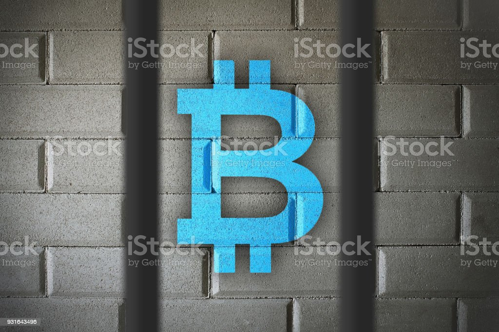 Bitcoin currency buying and selling banned in some countries.  Restrictions and government control over BTC usage.  Laws and legal concept. stock photo