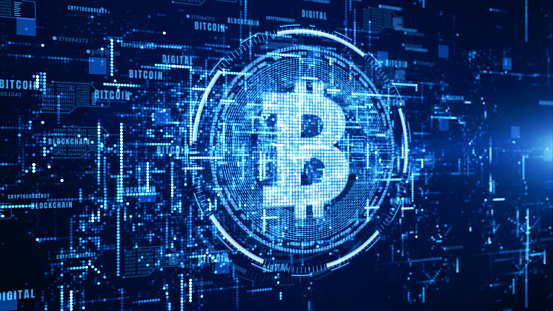 istock Bitcoin currency sign in digital cyberspace, Business and Technology Network Concept. 1130879154