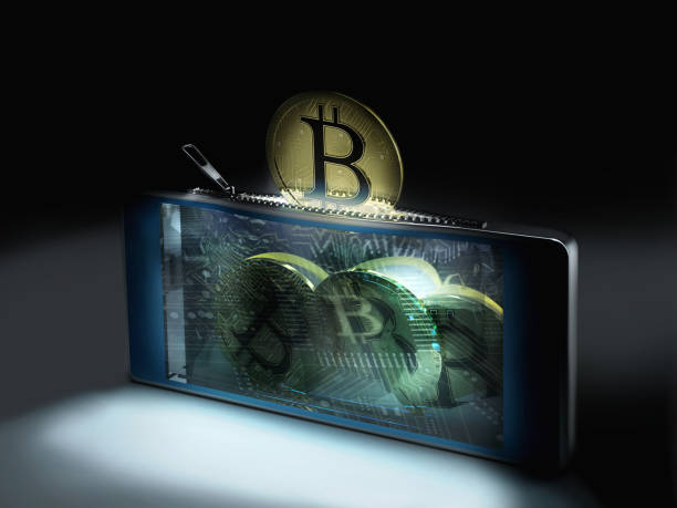 bitcoin cyber wallet stock photo