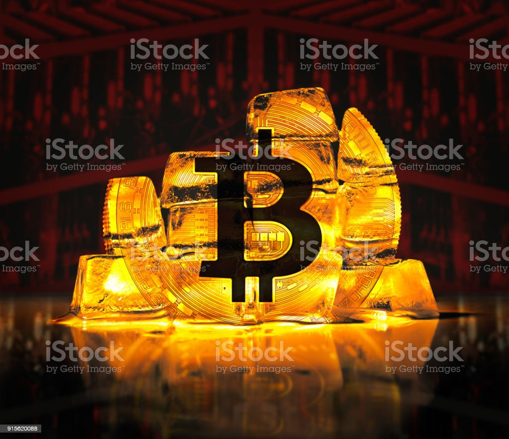Bitcoin digital gold on a red background stock photo