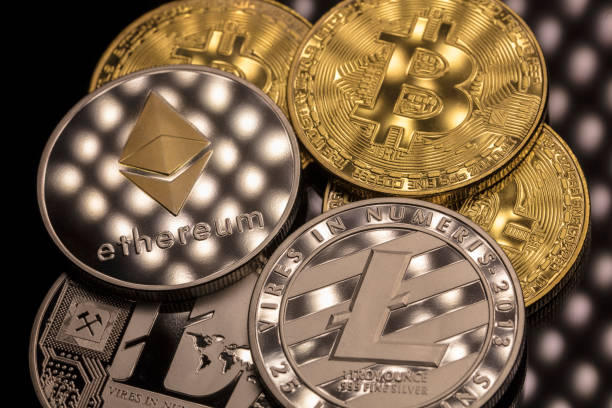 bitcoin ethereal and litecoin stock photo