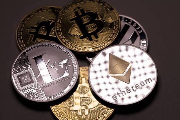 bitcoin ethereum and litecoin stock photo
