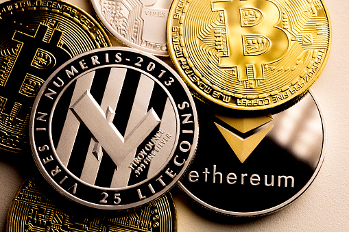 Bitcoin Ethereum And Litecoin Stock Photo - Download Image Now