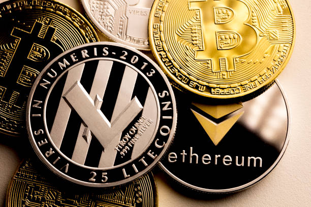 bitcoin ethereum and litecoin stock photo
