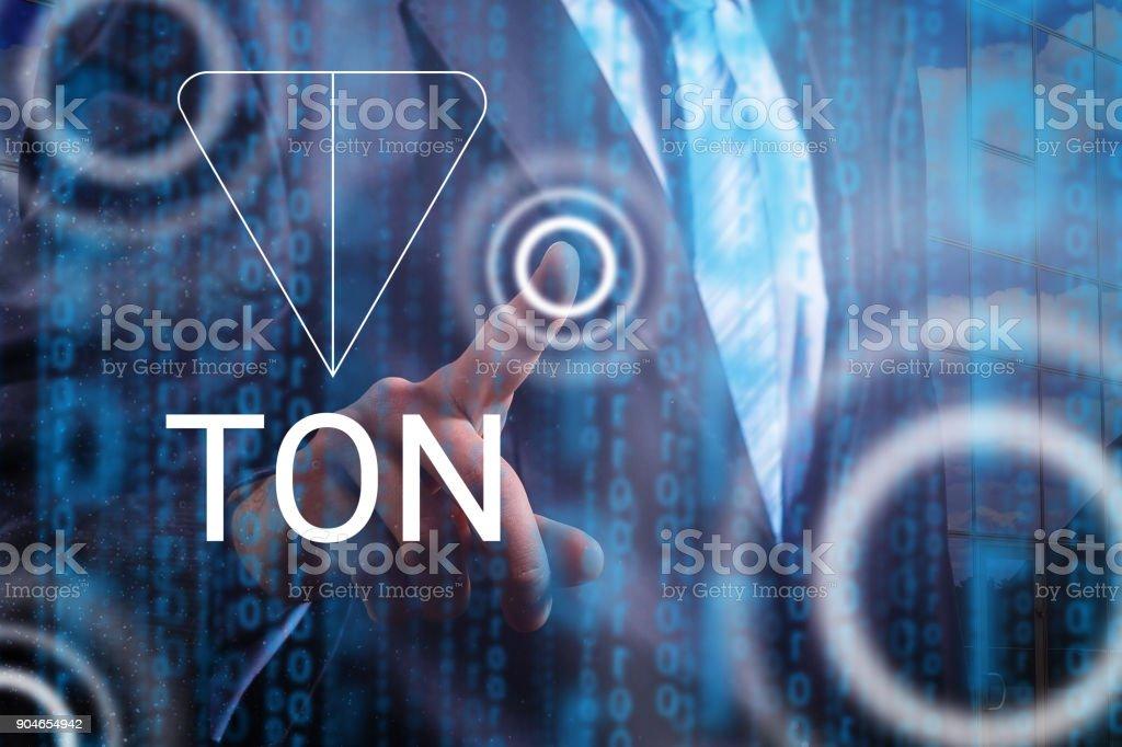 Bitcoin finance web money concept man presses coins bitcoin button on virtual screen stock photo