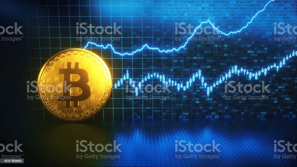 Bitcoin finanzielles Wachstum mit goldenen Münze – Foto