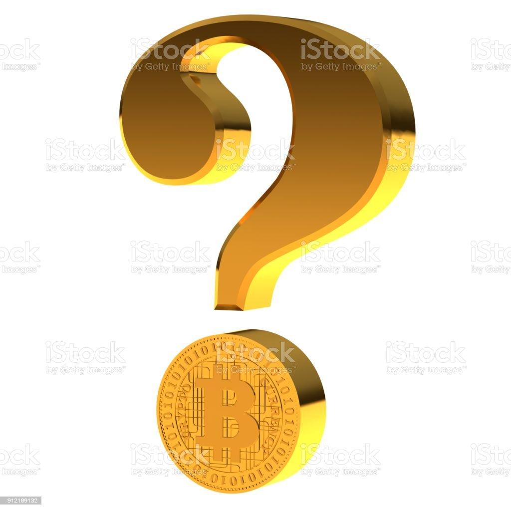 bitcoin toekomstige vraag cryptocurrency crypto valuta problemen crash 3d gouden vraagteken ondervraging teken pictogram gevraagd symbool op witte achtergrond foto