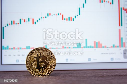 istock Bitcoin gold coin and candlestick chart background 1145705047