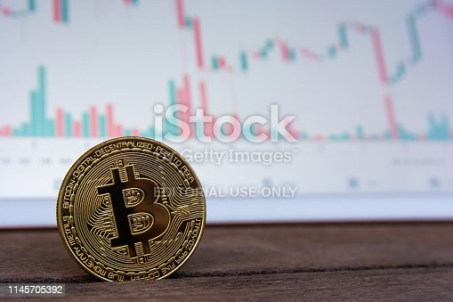 istock Bitcoin gold coin and candlestick chart background 1145705392
