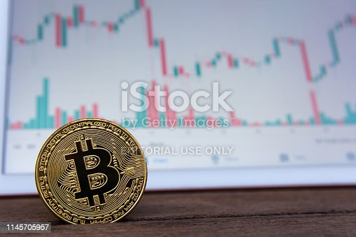 istock Bitcoin gold coin and candlestick chart background 1145705957