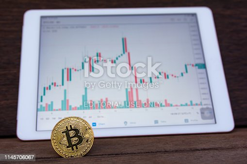 istock Bitcoin gold coin and candlestick chart background 1145706067