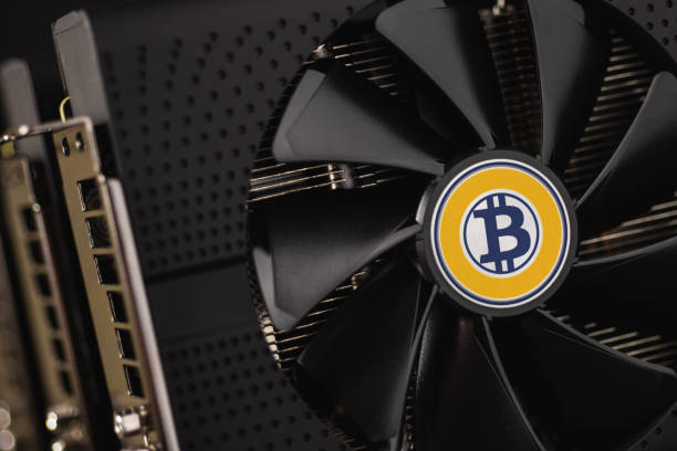 Bitcoin Gold Cryptocurrency Mining Using Graphic Cards stock photo
