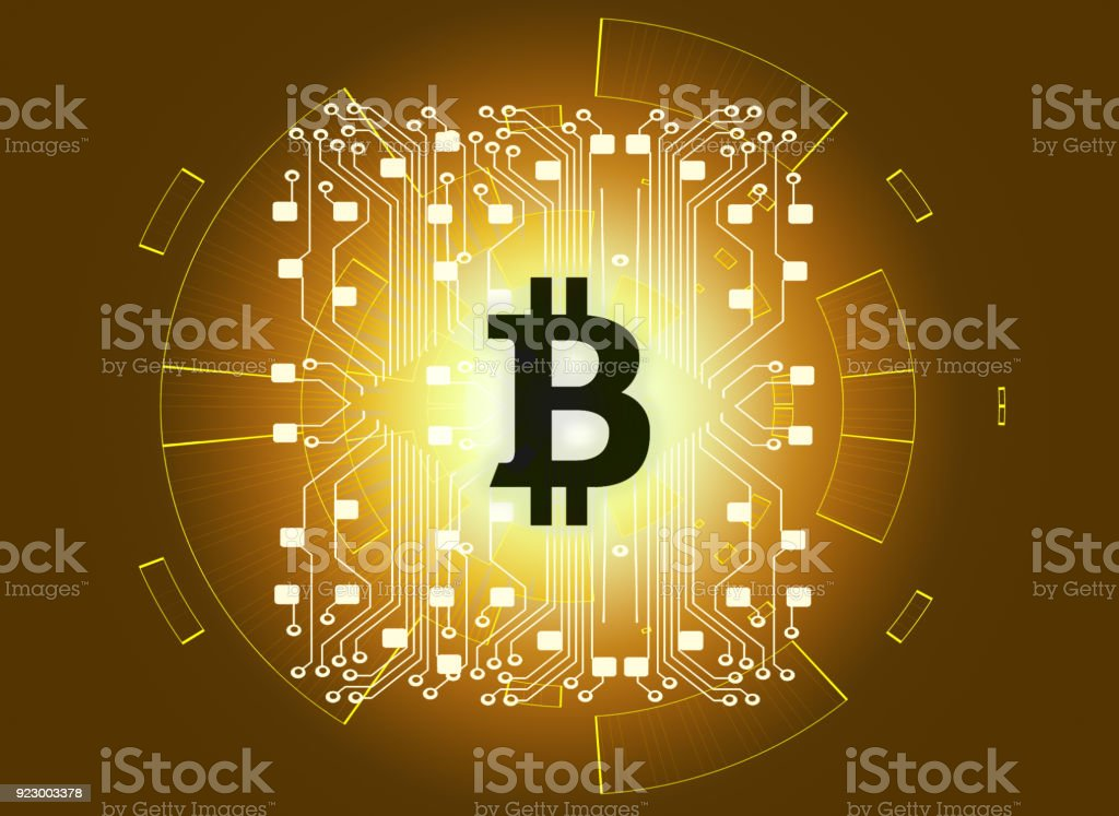 Bitcoin gold money futuristic network business concept with circuit line on world map стоковое фото