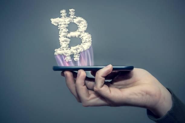 bitcoin handy stock photo
