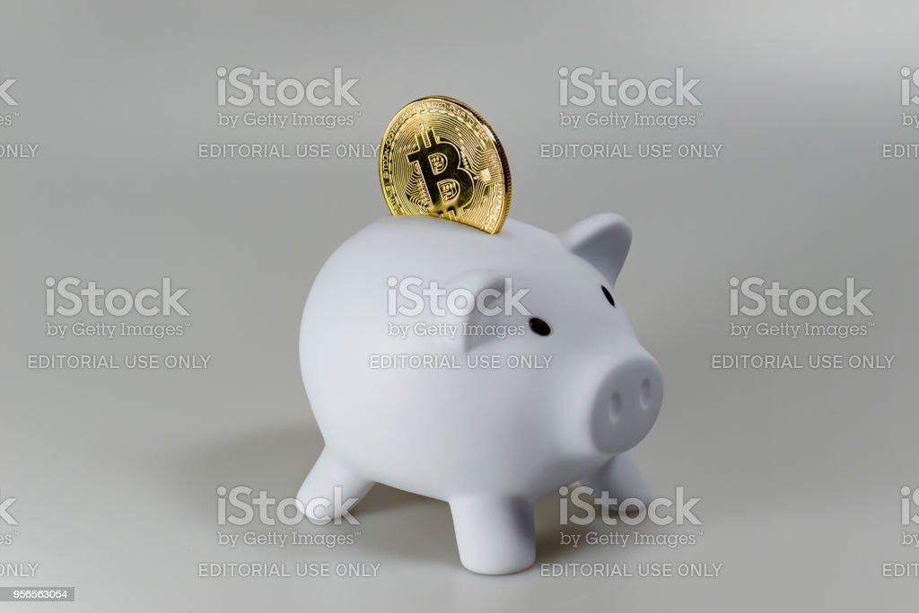Ein Bitcoin in ein weißes Sparschwein vor einem weißen Hintergrund – Foto
