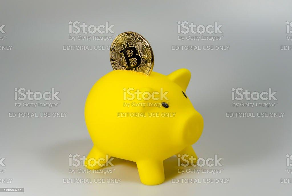 Ein Bitcoin in eine gelbe Sparschwein vor einem weißen Hintergrund – Foto
