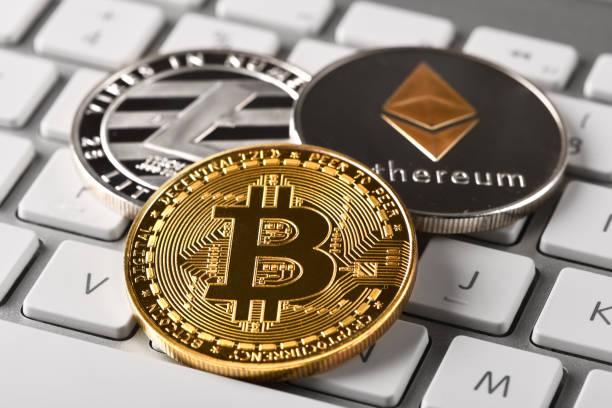 Bitcoin Litecoin and Ethereum stock photo