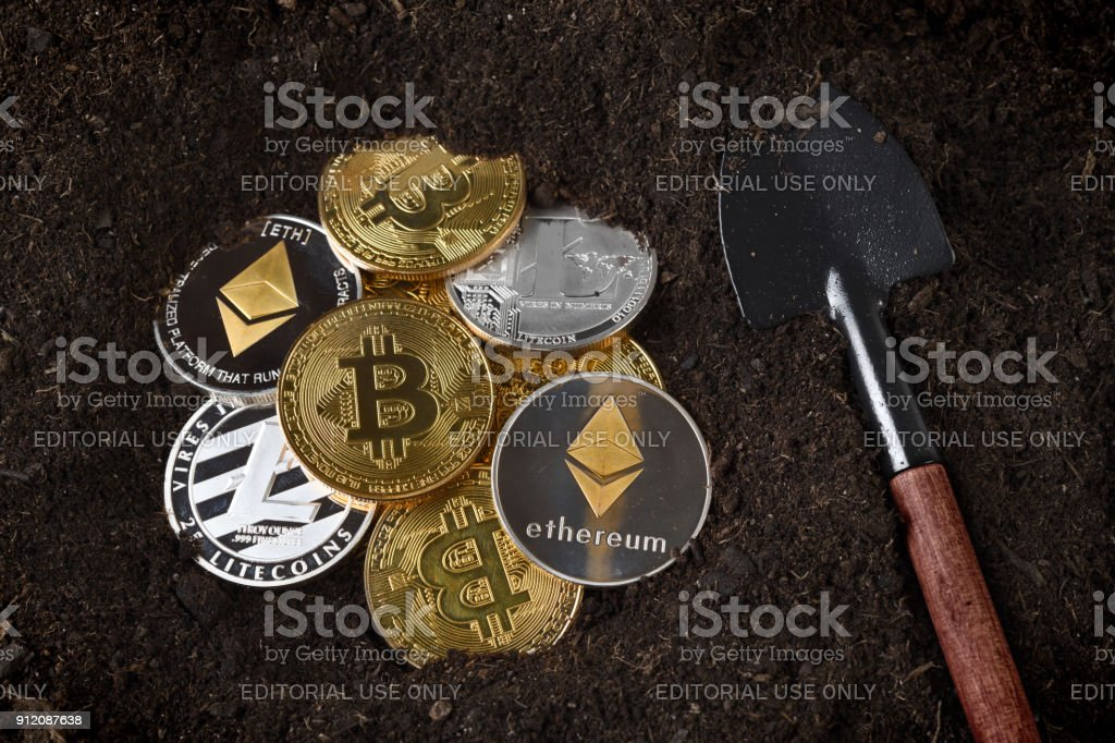 Bitcoin Litecoin Ethereum mining stock photo