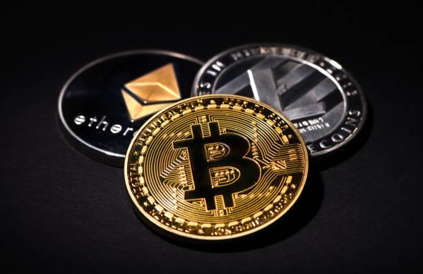 Bitcoin Litecoin Ethereum stock photo