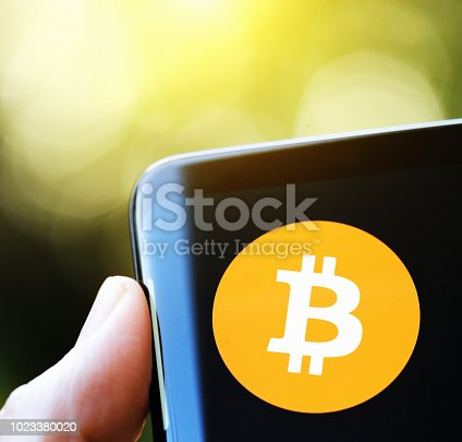 Bitcoin name/logo on otherwise blank phone screen