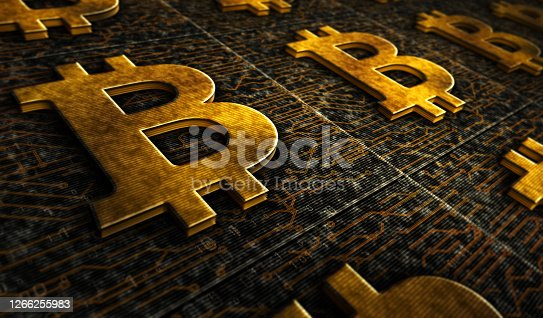 Bitcoin mining, blockchain, cryptocurrency technology, virtual money, cyber business, banking, economy and digital finance metal symbols. Abstract concept 3d rendering illustration.