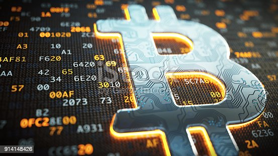 Bitcoin currency symbol with a circuit board surface on encrypted digital data