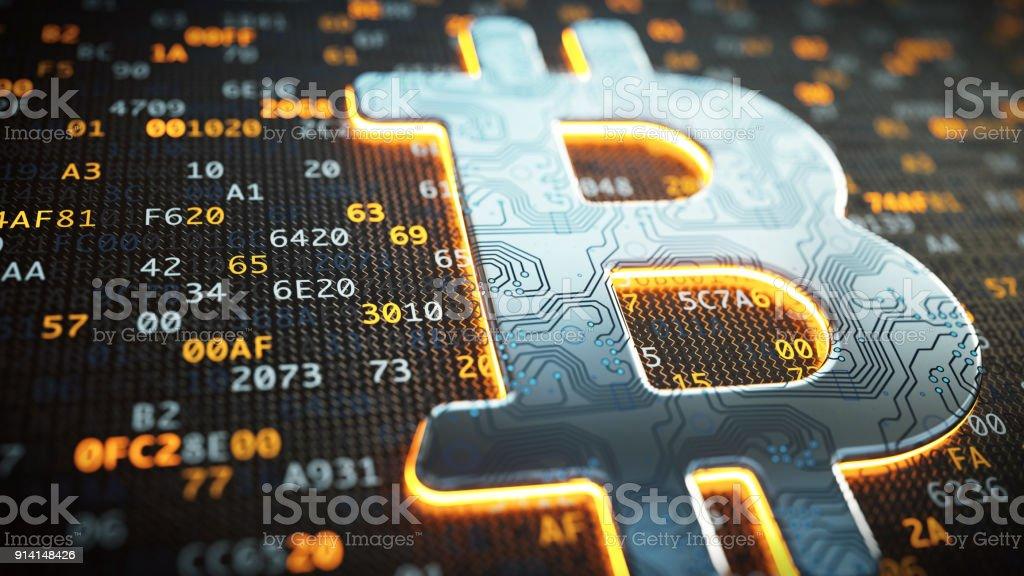 Bitcoin metallic circuit logo extreme close-up stock photo