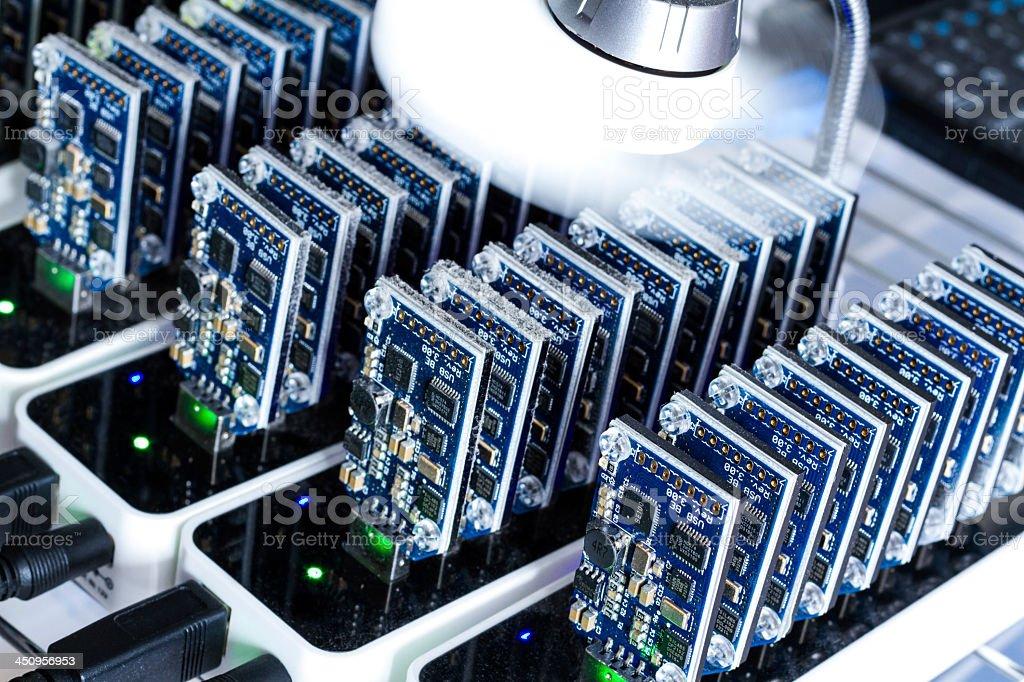 Bitcoin mining computer chip storage royalty-free stock photo