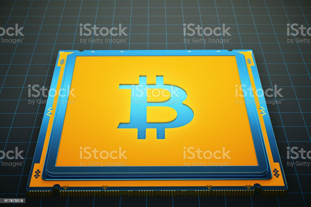 Bitcoin mining CPU with empty space stock photo