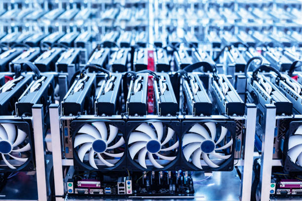 Bitcoin mining farm. IT hardware. stock photo