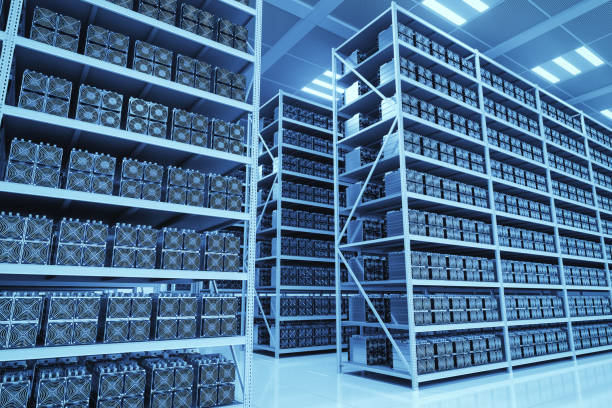 Bitcoin Mining Farm stock photo