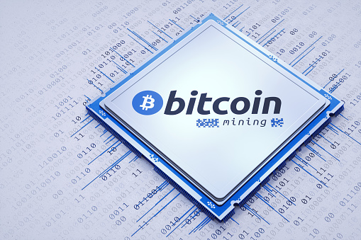 Futuristic Bitcoin mining processor on white background with binary data.