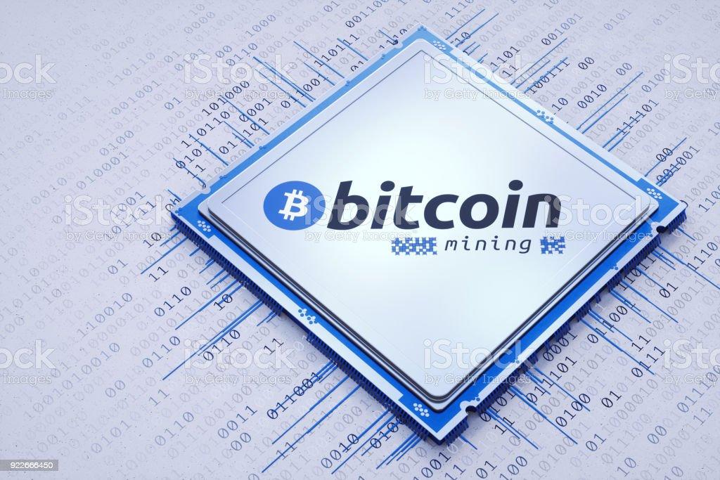 Bitcoin mining processor bright composition stock photo