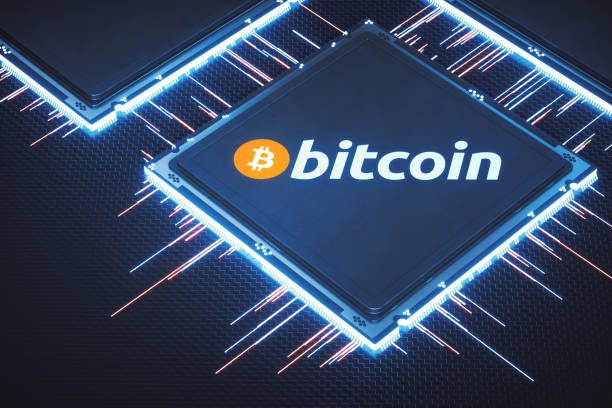 Bitcoin mining processor with logo and label Bitcoin mining processors connected together in an abstract setup on dark background with glowing connector pins.   augmented reality sustainable stock pictures, royalty-free photos & images
