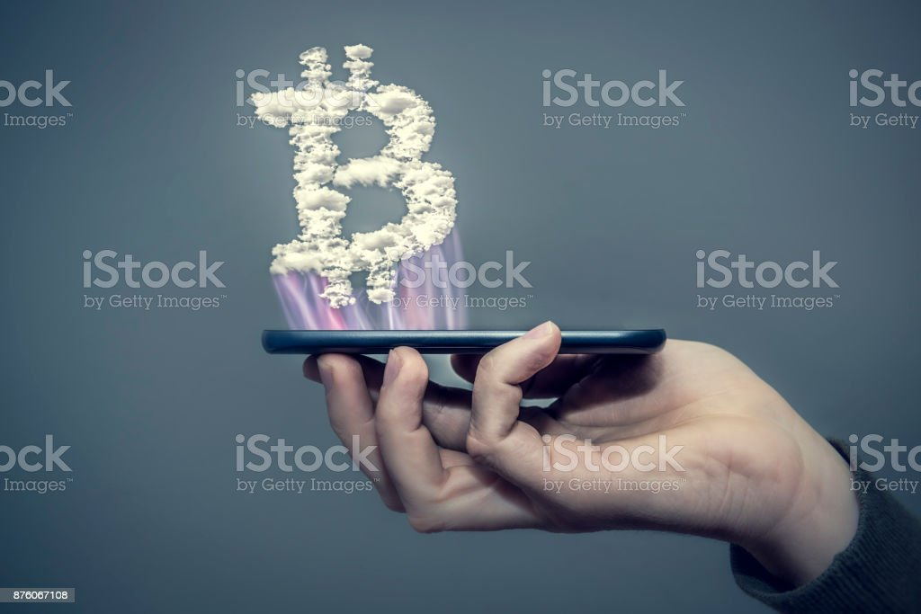 bitcoin handy stock photo