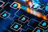 istock Bitcoin network concept on digital Screen 1297465792