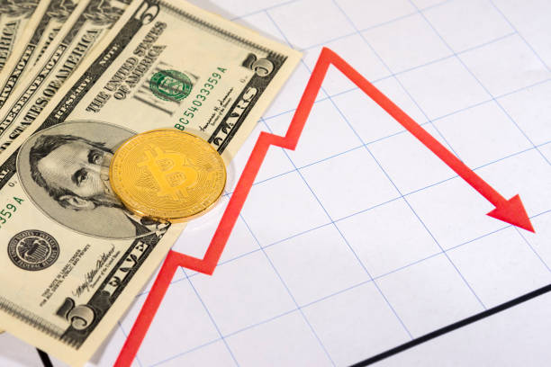Bitcoin On Money With Graph stock photo